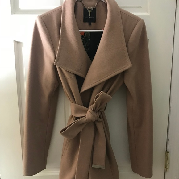 f27e455492f66 Ted Baker Short Wool Cashmere Wrap Coat. M 5b9582d6a31c338eab194969. Other  Jackets   Coats ...